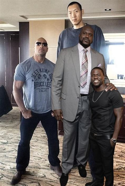 The Rock next to Kevin Hart, Shaquille O'neil, and Sun