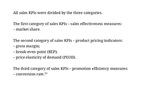 Examples of Key Performance Indicators for Sales Manager