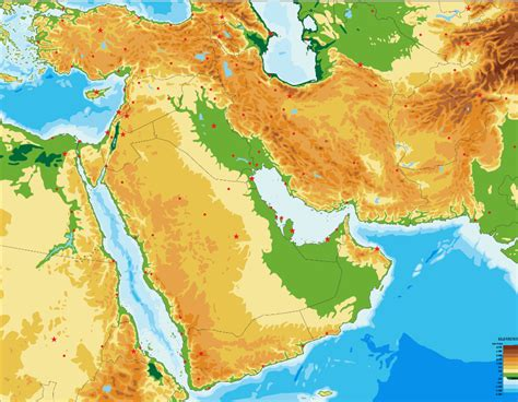 Middle East physical map (blank) - Map Quiz Game