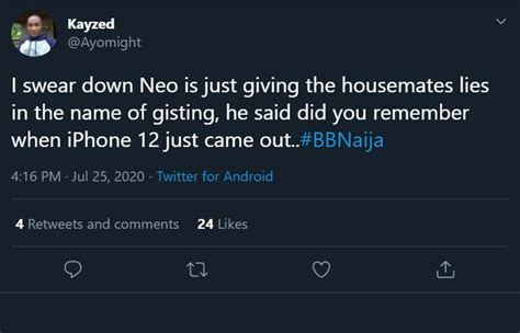 Nigerians react to BBNaija Neo saying iPhone 12 came out