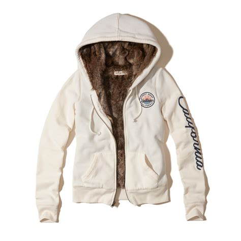 Lyst - Hollister Faux Fur Lined Graphic Hoodie in White