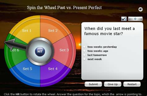 Spin the Wheel Game: Past or Present Perfect?   English