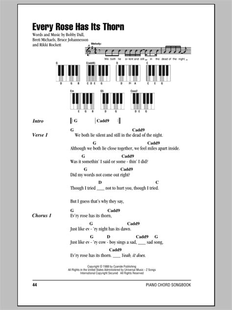Every Rose Has Its Thorn Sheet Music | Poison | Piano