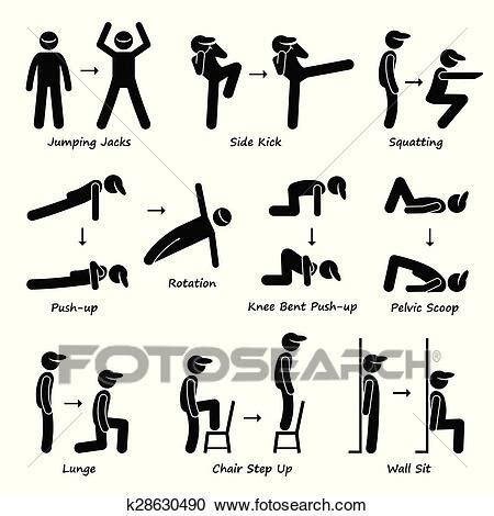Body Workout Exercise Fitness Train Clipart   k28630490