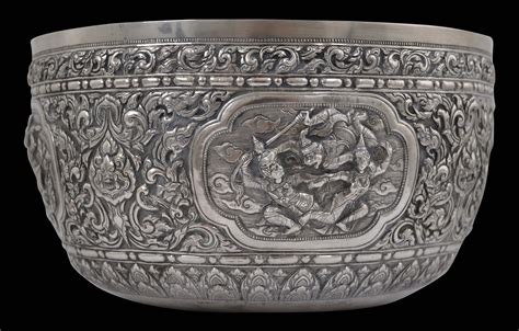 Thai or Cambodian Repoussed Silver Bowl - Michael Backman Ltd