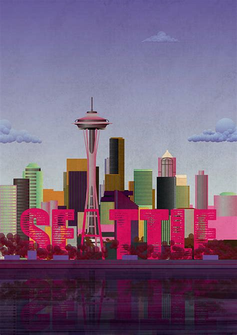 print of seattle skyline by lime lace   notonthehighstreet