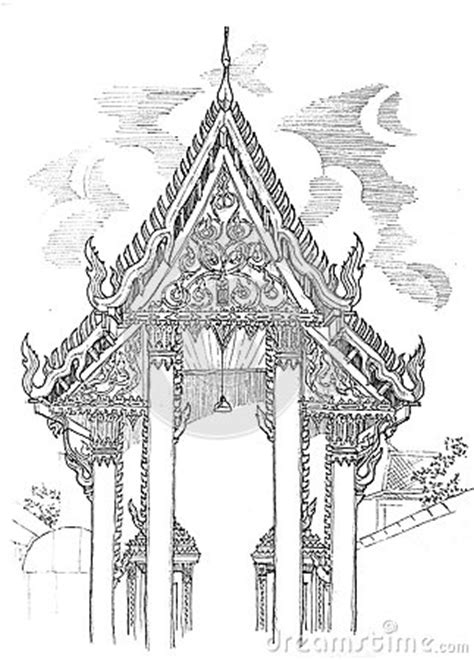 Thai Temple Elevation Drawing Stock Photography - Image