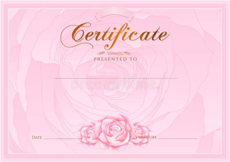 Certificate, Diploma Of Completion (Rose Design Template